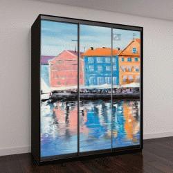 """Шкаф купе с фотопечатью """"Копенгаген в сияющий день, оригинальные картины маслом """""""