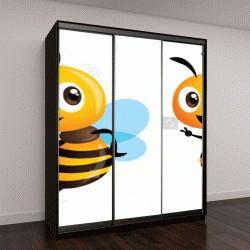 """Шкаф купе с фотопечатью """"Милый мультфильм серии пчелы талисмана"""""""