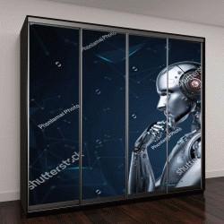 """Шкаф купе с фотопечатью """"3D визуализация ИИ робот думает"""""""
