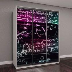 """Шкаф купе с фотопечатью """"математические формулы в виртуальном пространстве"""""""