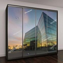"""Шкаф купе с фотопечатью """"Современное офисное здание в вечернее время"""""""