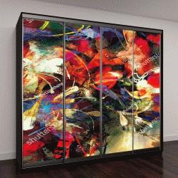 """Шкаф купе с фотопечатью """"цифровая живопись, абстрактные яркие красочные цветы,иллюстрация"""""""