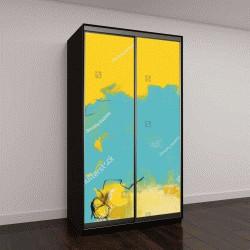 """Шкаф купе с фотопечатью """"Текстура живописи, желтый и синий"""""""