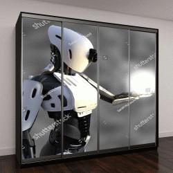 """Шкаф купе с фотопечатью """"робот-андроид со светящимся шаром энергии """""""