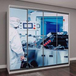 """Шкаф купе с фотопечатью """"Научная лаборатория, эксперименты с ИИ"""""""