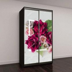 """Шкаф купе с фотопечатью """"Креативный макет с цветами и белая рамка"""""""