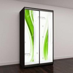 """Шкаф купе с фотопечатью """"Зеленая волна, векторный дизайн """""""