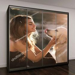 """Шкаф купе с фотопечатью """"женщина с собакой"""""""
