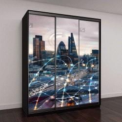 """Шкаф купе с фотопечатью """"Лондона на закате с линиями сети"""""""
