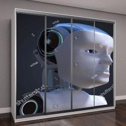 """Шкаф купе с фотопечатью """"3D иллюстрации роботизированной головы"""""""