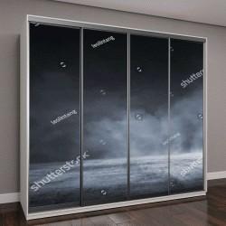 """Шкаф купе с фотопечатью """"темный бетонный пол с туманом"""""""