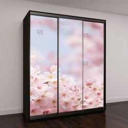 """Шкаф купе с фотопечатью """"Розовый цветок сакуры """""""