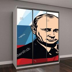 "Шкаф купе с фотопечатью ""Путин на фоне триколора"""