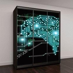 """Шкаф купе с фотопечатью """"AI (искусственный интеллект), машинное обучение, нанотехнологии и другие современные технологии"""""""