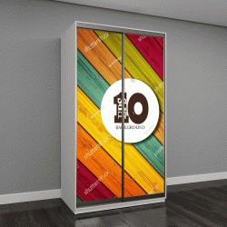 """Шкаф купе с фотопечатью """"разноцветные доски"""""""