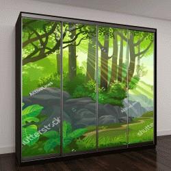 """Шкаф купе с фотопечатью """"Путь через густые джунгли с деревьями, травой и кустами"""""""