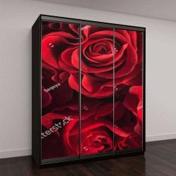 """Шкаф купе с фотопечатью """"Букет из свежих роз, цветочный яркий фон"""""""