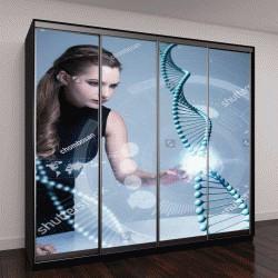 """Шкаф купе с фотопечатью """"концепция генных технологий, генной инженерии, 3D визуализация"""""""