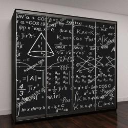 """Шкаф купе с фотопечатью """"Математические формулы на черном фоне"""""""