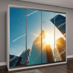 """Шкаф купе с фотопечатью """"стеклянные фасады в яркий солнечный день"""""""