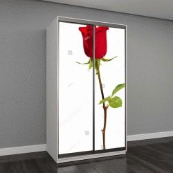 """Шкаф купе с фотопечатью """"Красная роза на белом фоне"""""""