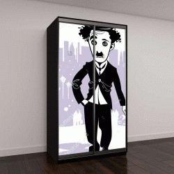 """Шкаф купе с фотопечатью """"Шарж Чарли Чаплин"""""""