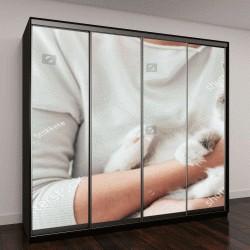 """Шкаф купе с фотопечатью """"Женщина в доме держит ее прекрасный Бирман кошка, интерьер комнаты на фон, домашние животные и концепция образа жизни """""""