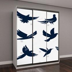 """Шкаф купе с фотопечатью """"Набор летающих птиц"""""""