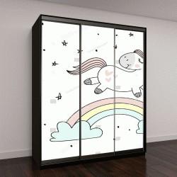 """Шкаф купе с фотопечатью """"Магия симпатичные единорог, прогулки на радуги, каракули детские арт"""""""