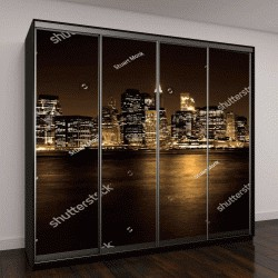 """Шкаф купе с фотопечатью """"Нижний Манхэттен в Нью-Йорке ночью с отражением в воде"""""""