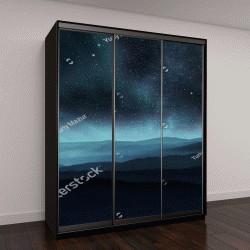"""Шкаф купе с фотопечатью """"Звездное ночное небо с сияющим над холмами"""""""