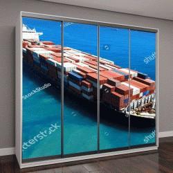"""Шкаф купе с фотопечатью """"Большой контейнерный корабль в море"""""""