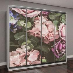 """Шкаф купе с фотопечатью """"Красивый букет цветов для фона - фильтр Винтаж """""""