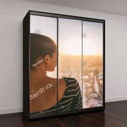 """Шкаф купе с фотопечатью """"закат в Лондоне, городской пейзаж из окна небоскреба """""""