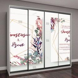 """Шкаф купе с фотопечатью """"Набор свадебные приглашения рамы; цветы, листья, абстрактный, изолированные на белом"""""""