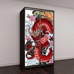 """Шкаф купе с фотопечатью """"татуировка дракона, раскраска в японском стиле"""""""