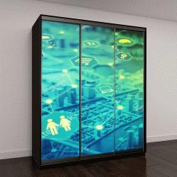 """Шкаф купе с фотопечатью """"графические концепции Интернета """""""