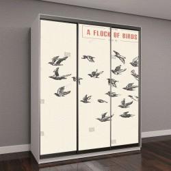 """Шкаф купе с фотопечатью """"Стая птиц,  эскиз"""""""
