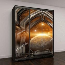 """Шкаф купе с фотопечатью """"Строительство ворот на чужой планете"""""""