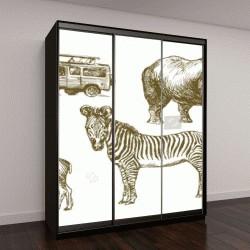 """Шкаф купе с фотопечатью """"Африканское сафари животных"""""""