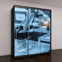 """Шкаф купе с фотопечатью """"инструмент роботизированной руки машины в промышленное производство завод"""""""