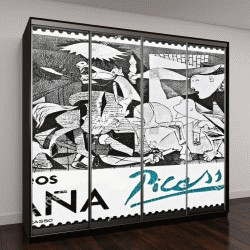 """Шкаф купе с фотопечатью """"""""Герника"""" Пабло Пикассо, почтовая марка"""""""