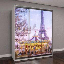 """Шкаф купе с фотопечатью """"Эйфелева башня и старинные карусели в зимний вечер в Париже, Франция"""""""