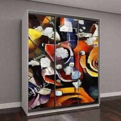 """Шкаф купе с фотопечатью """"Букет красивых цветов в стиле модерн и кубизм Пикассо и Кандинского"""""""