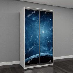 """Шкаф купе с фотопечатью """"Голубые планеты в галактике"""""""