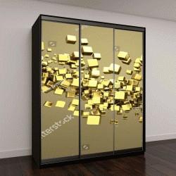 """Шкаф купе с фотопечатью """"золотые кубики абстрактный фон"""""""