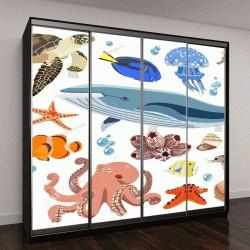 """Шкаф купе с фотопечатью """"Векторная коллекция обитателей морской фауны: осьминог, кит, медузы, креветки, рыба, краб, ракушка, черепаха, кораллы"""""""