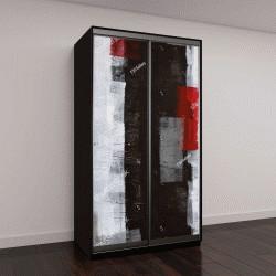 """Шкаф купе с фотопечатью """"Красный и серый абстрактное искусство живопись"""""""
