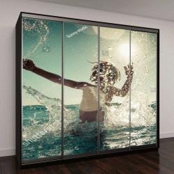 """Шкаф купе с фотопечатью """"Счастливый ребенок играет в море"""""""
