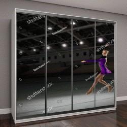 """Шкаф купе с фотопечатью """"Молодая девушка фигуристка в спортивном зале"""""""